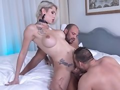 Watch Danni in a Hot Huge Cock Threesome that Ends in a Sticky Cum-plosion