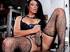 Sexy Vaniity stroking in stockings