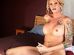 Sexy tgirl Morgan pleasuring herself