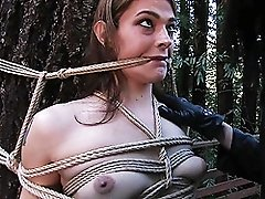 TS domme whipping a tranny in the forest