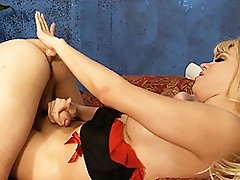 Unbelievably hot TS Jesse drilling a virgin ass