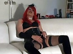 Tgirl Zoe looks so hot with her red hair and huge cock