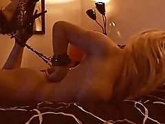 Naughty tgirl Jesse struggling in chains