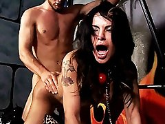 Tied up Foxxy gets rough ass and mouthfucking