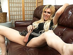 Horny tgirl Jesse talking dirty and playing with herself